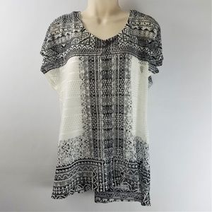 One World Sz Large Tank Top w/ Lace Overlay Blouse